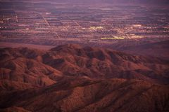 Coachella Valley at Dusk. California, United States. Thermal and Mecca, California City Lights Royalty Free Stock Images