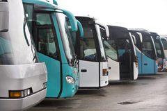 Coaches. Different coaches parked waiting to leave a deposit Stock Photography