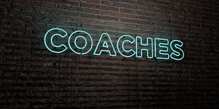 COACHES -Realistic Neon Sign on Brick Wall background - 3D rendered royalty free stock image Royalty Free Stock Photos