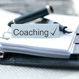 Coaching. Datebook, pencil and text, Coaching royalty free stock photography