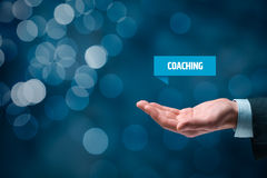 Coaching. Advertisement concept. Coach show virtual label with text Stock Images