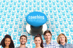 Coaching against blue push button. The word coaching and happy college students with arms crossed against blue push button Stock Photography