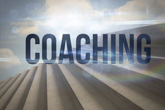 Coaching against steps against blue sky Royalty Free Stock Images