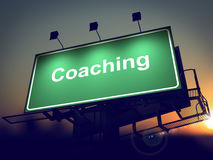 Coaching - Billboard on the Sunrise Background. Stock Images