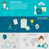 Coaching Business Banner. Set with corporate business effective planning elements isolated vector illustration Royalty Free Stock Images