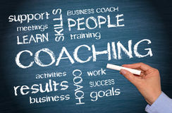 Coaching Business Concept - female hand writing text Royalty Free Stock Image