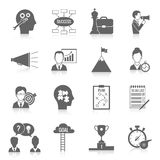 Coaching Business Icon Black. Coaching business teamwork partnership and collaboration training system icon black set isolated vector illustration Royalty Free Stock Photography