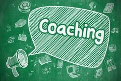 Coaching - Cartoon Illustration on Green Chalkboard. Royalty Free Stock Photography