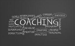 Coaching chalkboard. A chalkboard with coaching concept Stock Photography