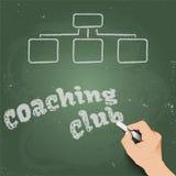 Coaching Club, written in chalk on a blackboard 3d Royalty Free Stock Photo