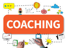 COACHING   (Coaching Guide Instructor Leader). Businessman work on white broad, top view Royalty Free Stock Photos