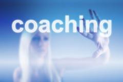 Coaching concept. Coaching business concept - woman touching screen Royalty Free Stock Photography