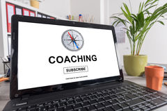 Coaching concept on a laptop. Laptop screen with coaching concept Royalty Free Stock Image