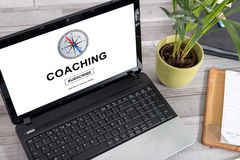 Coaching concept on a laptop. Laptop screen with coaching concept Stock Images