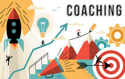 Coaching concept line art colorful modern design Royalty Free Stock Images
