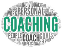 Coaching concept in sphere tag cloud. Coaching concept related words in tag cloud isolated on white Stock Image
