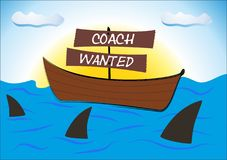 Coaching concept struggle in a boat on the sea among sharks Stock Photos