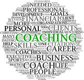 Coaching concept in tag cloud. Coaching concept related words in tag cloud isolated on white Stock Photo