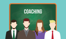 Coaching concept in a team illustration with text written on chalkboard Stock Images