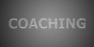 Coaching concept word. On grey background Stock Photography