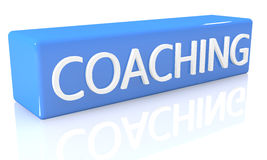 Coaching. 3d render blue box with text Coaching on it on white background with reflection Stock Images