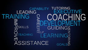 Coaching, development, training tag word cloud - blue background stock video