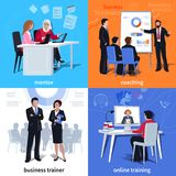 Coaching Flat Compositions. Flat compositions with mentor and student coaching business trainer and online learning isolated vector illustration Royalty Free Stock Image