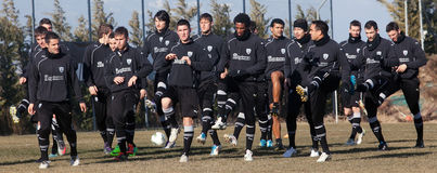 Coaching the football team of PAOK Royalty Free Stock Photos