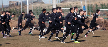 Coaching the football team of PAOK Royalty Free Stock Images