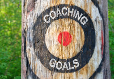 Coaching Goals - tree with target and text Stock Images