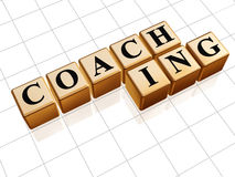 Coaching in golden cubes Stock Photo