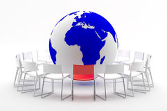 Coaching. A group of chairs around the planet symbolizing a brainstorm Stock Image
