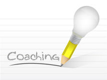 Coaching handwritten with lightbulb pencil Stock Photography