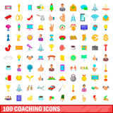 100 coaching icons set, cartoon style. 100 coaching icons set in cartoon style for any design vector illustration Stock Photography