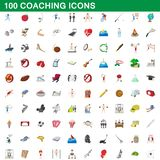 100 coaching icons set, cartoon style. 100 coaching icons set in cartoon style for any design illustration stock illustration