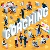 Coaching Isometric People 3D Set Vector Illustration Royalty Free Stock Images