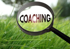 Coaching. Magnifying glass with the word coaching on grass background. Selective focus Stock Images