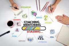Coaching and Mentoring Concept. Chart with keywords and icons Royalty Free Stock Image