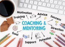 Coaching and Mentoring Concept. Chart with keywords and icons. White office desk Royalty Free Stock Images