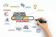 Coaching and Mentoring Conceptt. Chart with keywords and icons Stock Photography