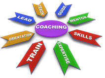 Coaching and mentoring. Skills and concept on a 3d diagram Royalty Free Stock Photos