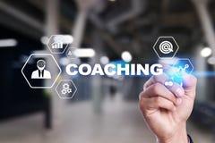 Coaching and mentoring on virtual screen. Personal development concept. Coaching and mentoring on virtual screen. Personal development concept stock photos