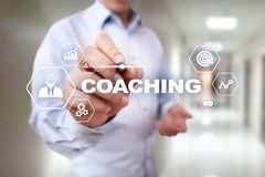 Coaching and mentoring on virtual screen. Personal development concept. Coaching and mentoring on virtual screen. Personal development concept royalty free illustration