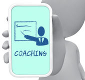 Coaching Online Represents Give Lessons And Cellphone 3d Rendering Royalty Free Stock Photos