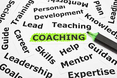 Coaching with other related words royalty free stock photography