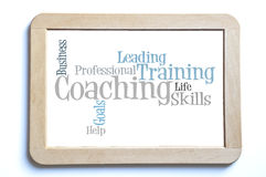 Coaching. Professional Coaching word cloud on a wooden board Royalty Free Stock Photos