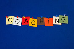 Coaching - sign or poster for business, life and mentoring. Royalty Free Stock Images