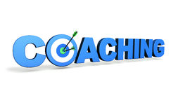 Coaching Target Concept. Hit the mark and business goals concept with blue coaching sign, target and arrows on white background Royalty Free Stock Photography