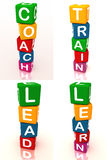 Coaching training learning. Words: coach train lead and learn in a collage of 3d blocks for a learning corporate team theme stock illustration