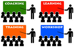 Coaching and training. Making progress in life and business by following several workshops Royalty Free Stock Photos
